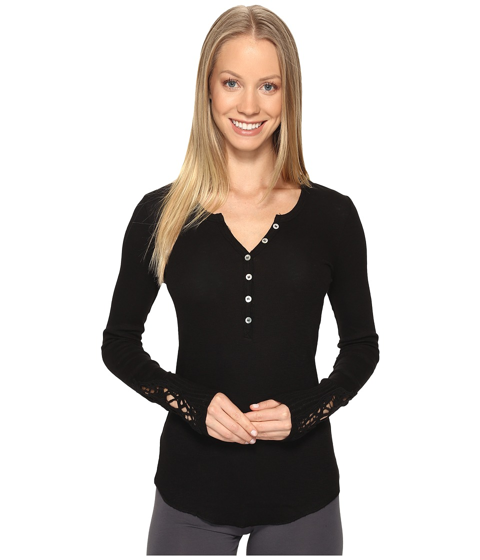P.J. Salvage - Crochet Sleeve Rib Henley (Black) Women's Pajama
