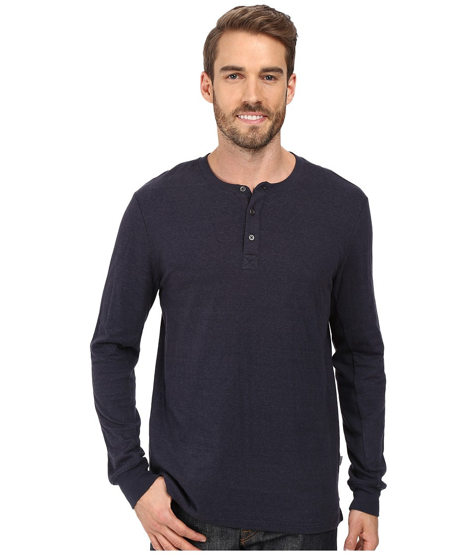 Threads 4 Thought - Double Face Long Sleeve Henley (Blue Nights) Men's Clothing