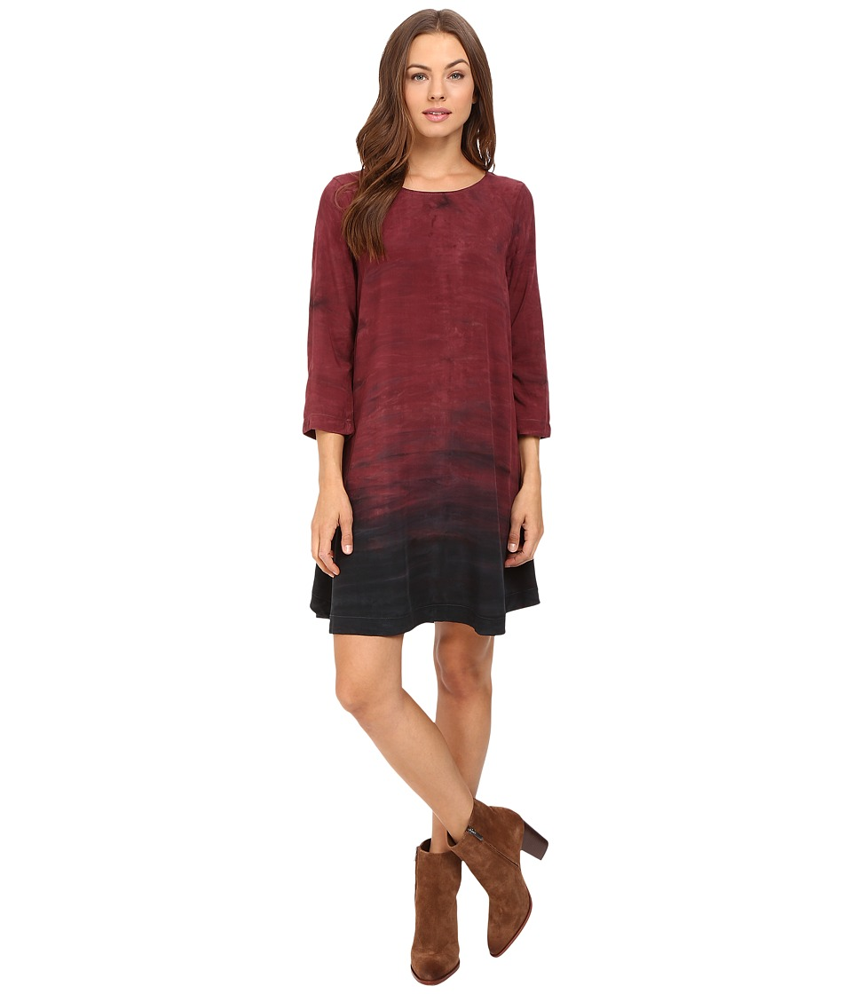 Michael Stars - Haze Print 3/4 Sleeve Crew Neck Swing Dress (Pinot) Women's Dress