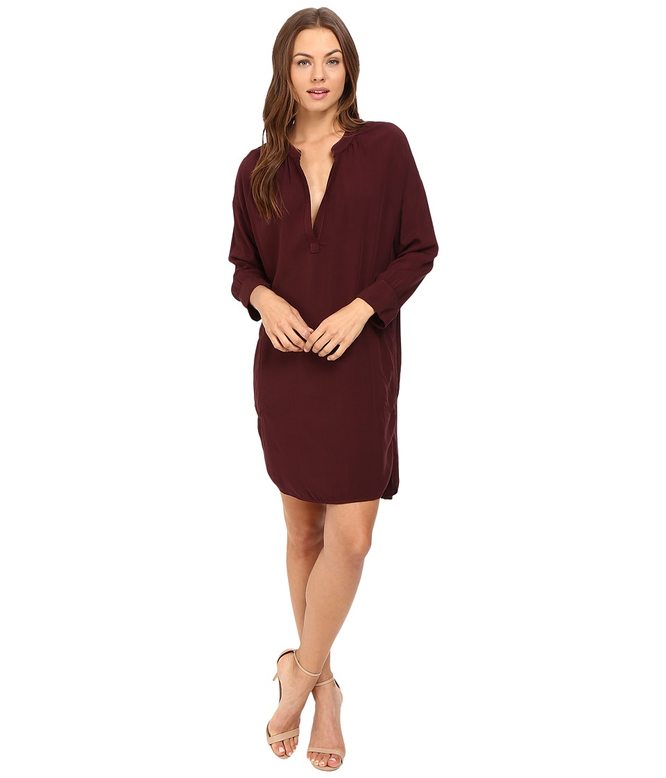Michael Stars - Modern Rayon 3/4 Sleeve Split-Neck Dress (Rosewood) Women's Dress