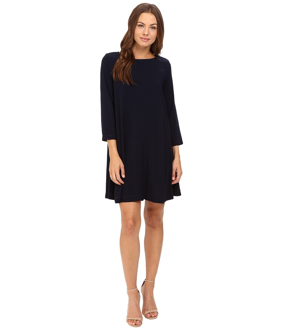 Michael Stars - Modern Rayon 3/4 Sleeve Crew Neck Mini Dress (Nocturnal) Women's Dress