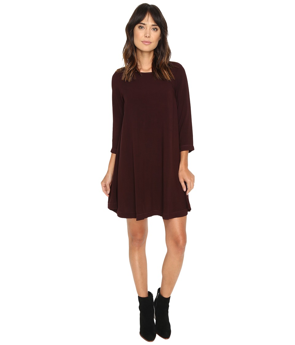 Michael Stars - Modern Rayon 3/4 Sleeve Crew Neck Mini Dress (Rosewood) Women's Dress