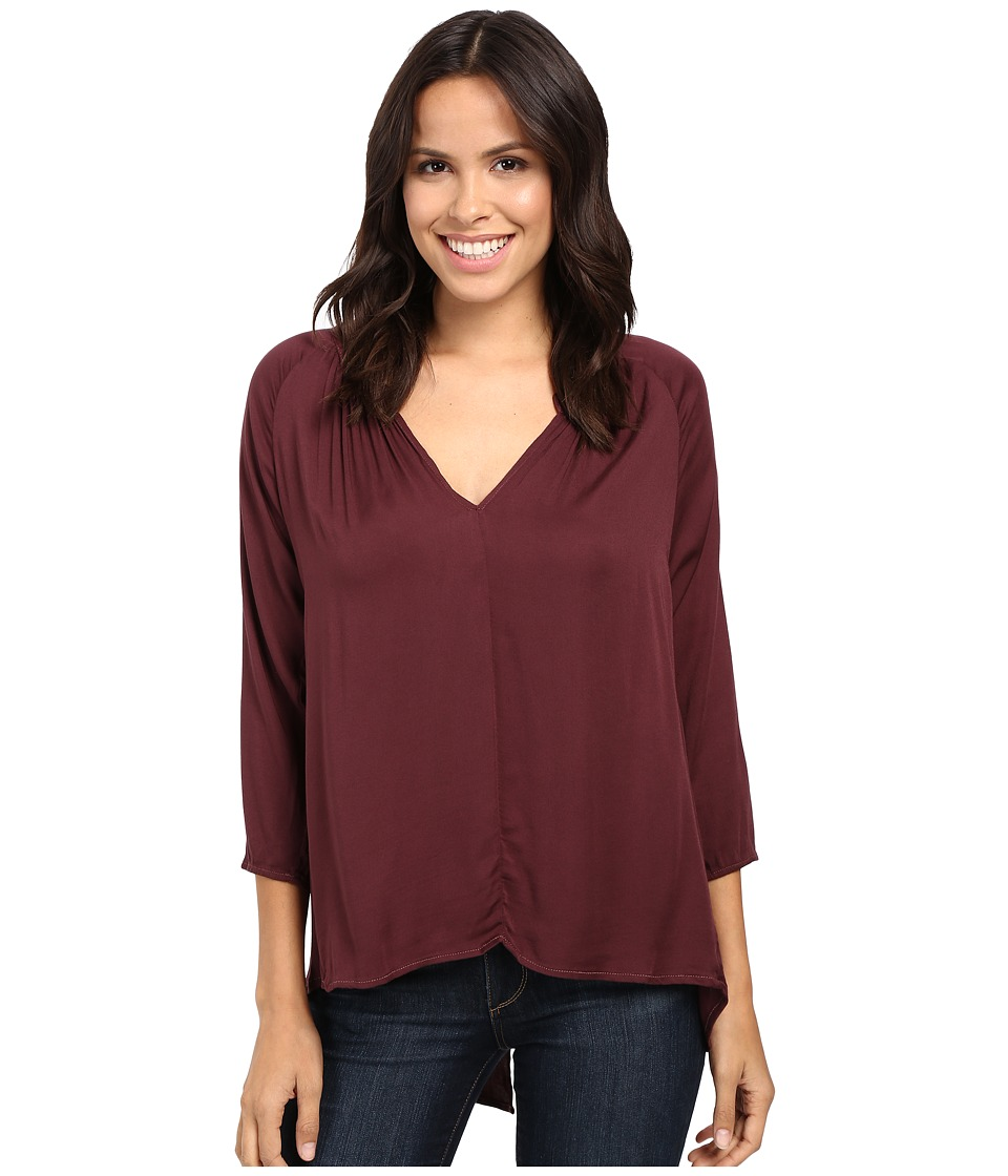 Michael Stars Romy Rayon Long Sleeve Hi-Low Crossback Top (Rosewood) Women