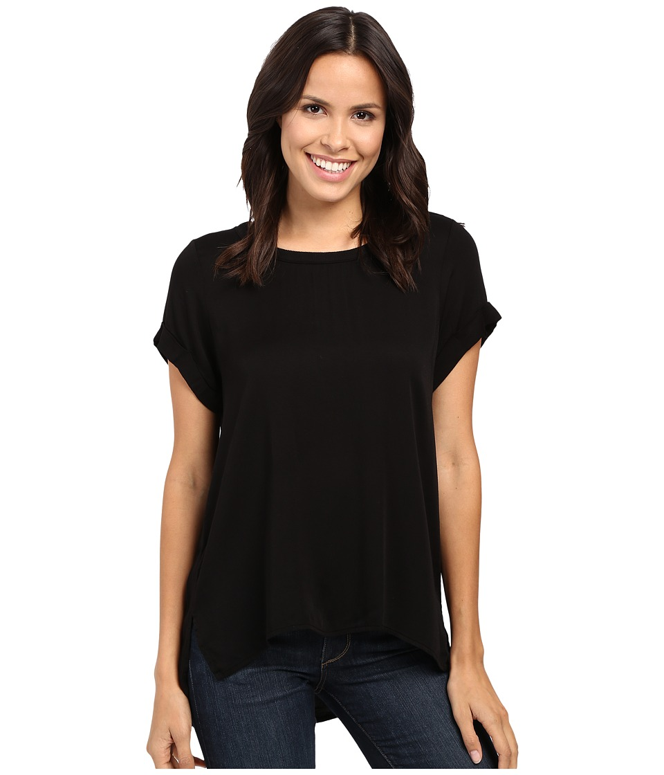 Michael Stars - Romy Rayon Roll Sleeve Crew Neck Tee (Black) Women's T Shirt