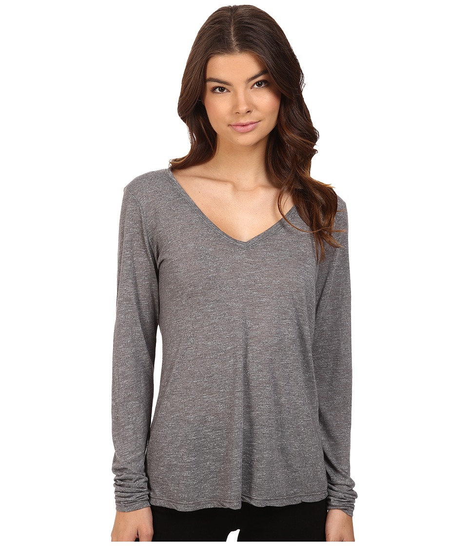 Michael Stars - Brooklyn Jersey Long Sleeve Vee Neck (Galvanized) Women's Clothing