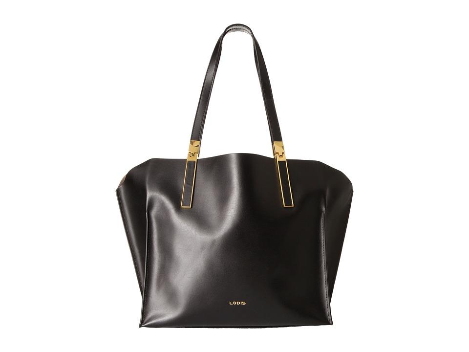 Lodis Accessories - Blair Unlined Anita East West Tote (Black/Taupe) Satchel Handbags