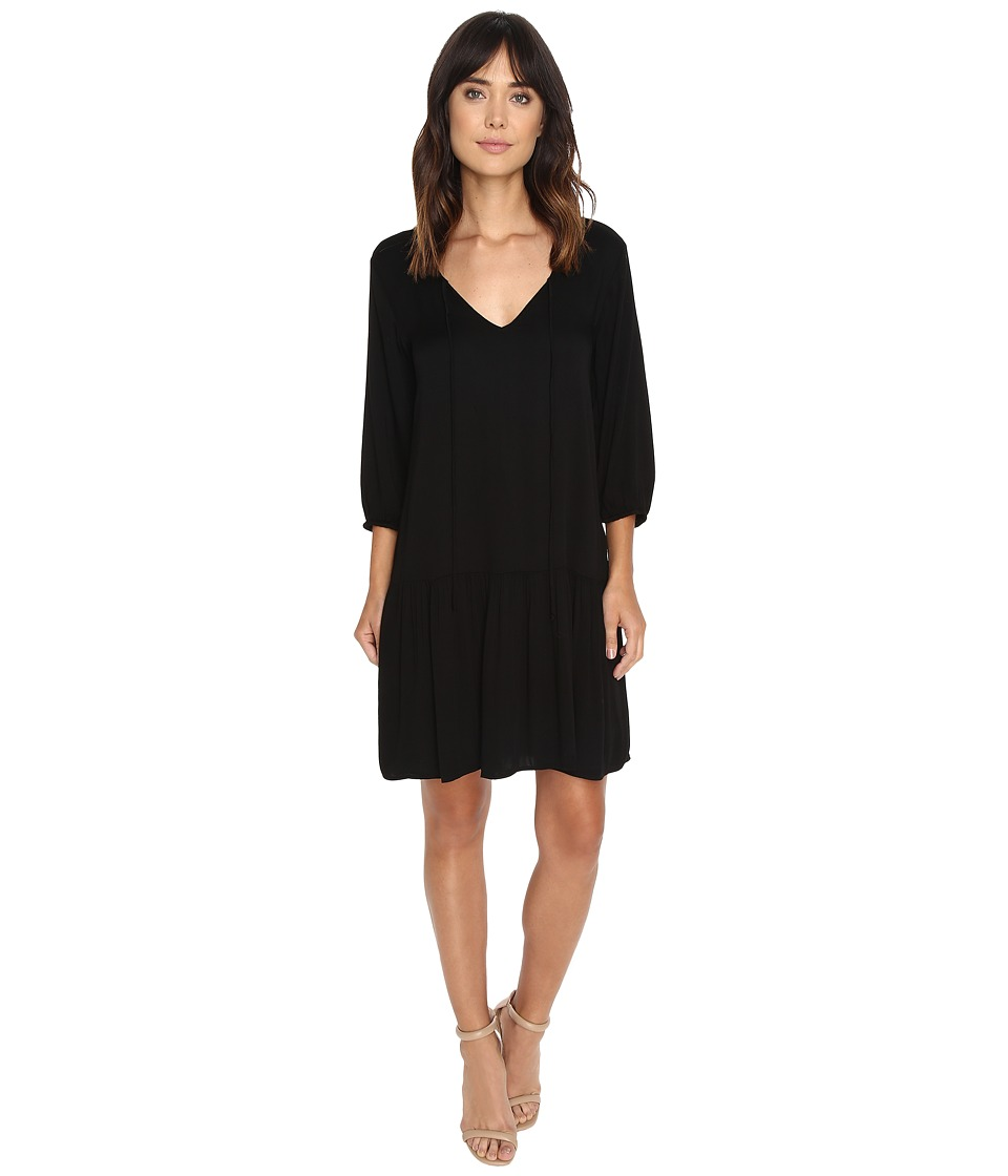 Michael Stars Romy Rayon 3/4 Sleeve Drop Waist Dress (Black) Women