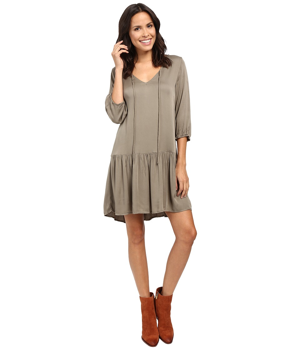 Michael Stars - Romy Rayon 3/4 Sleeve Drop Waist Dress (Olive Moss) Women's Dress