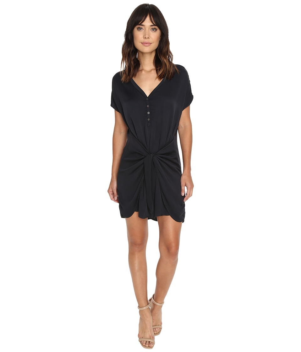 Michael Stars Romy Rayon Henley Tie Waist Dress (Oxide) Women