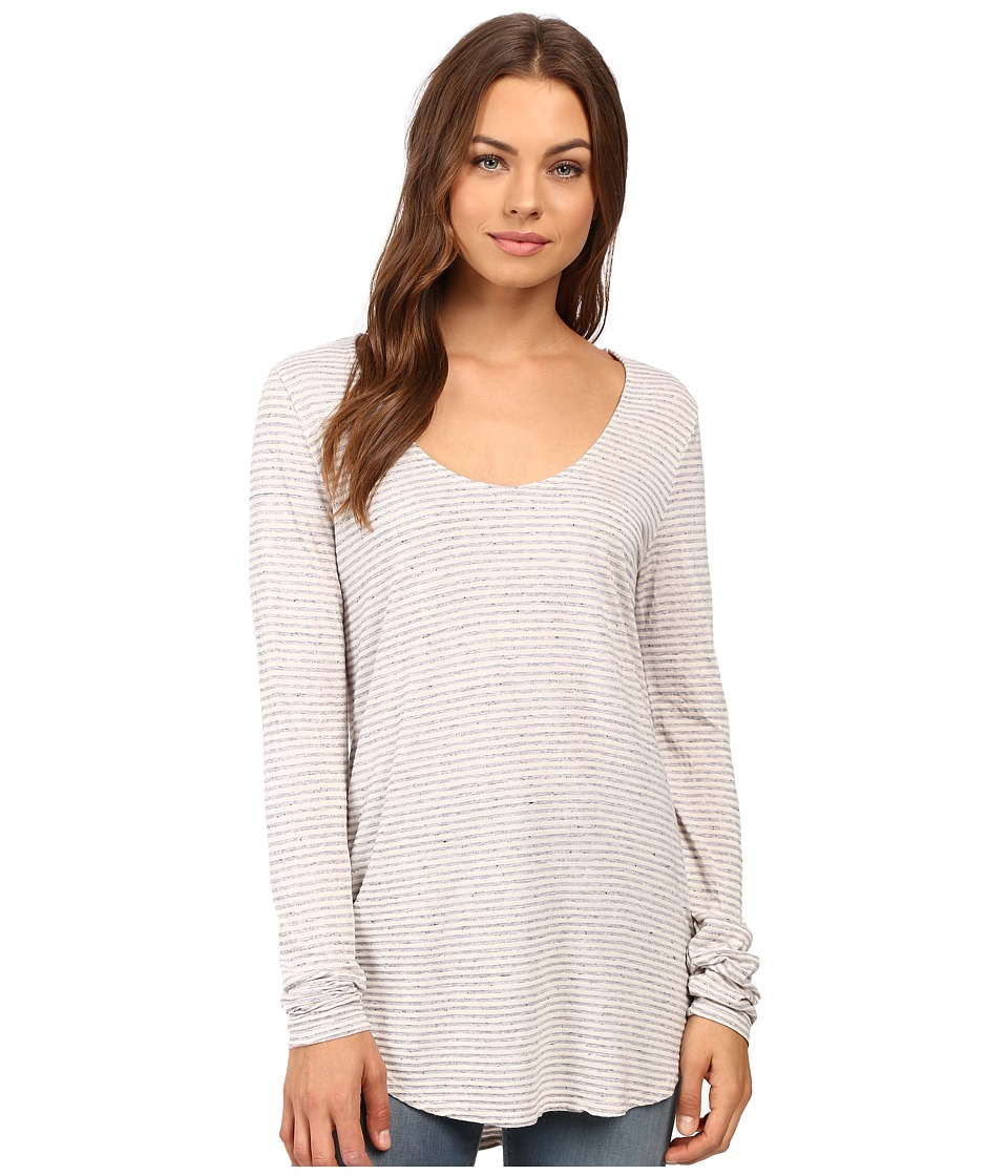 Michael Stars Sapphire Jersey Stripe Long Sleeve U-Neck Tee (Chalk) Women