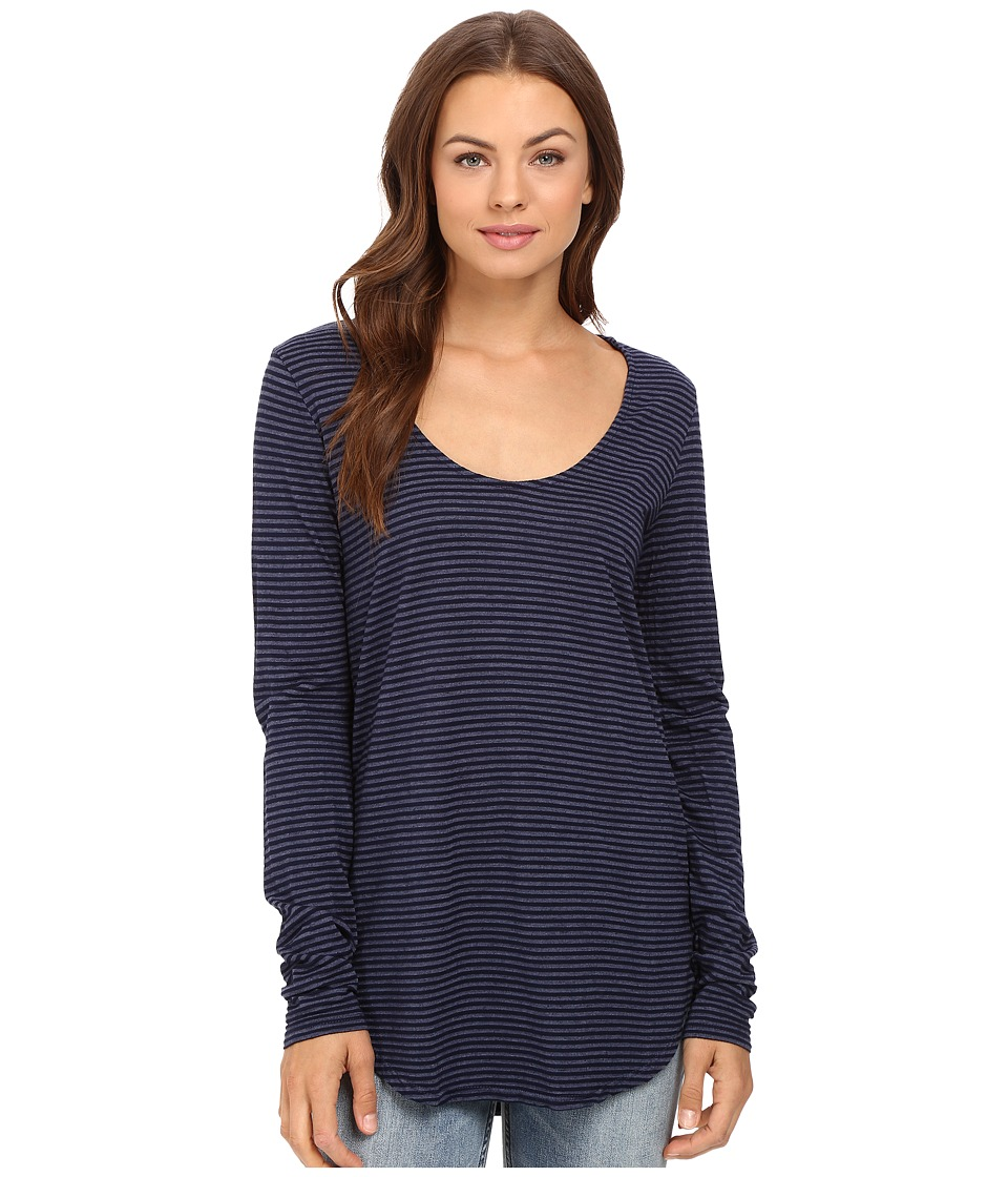 Michael Stars Sapphire Jersey Stripe Long Sleeve U-Neck Tee (Nocturnal) Women