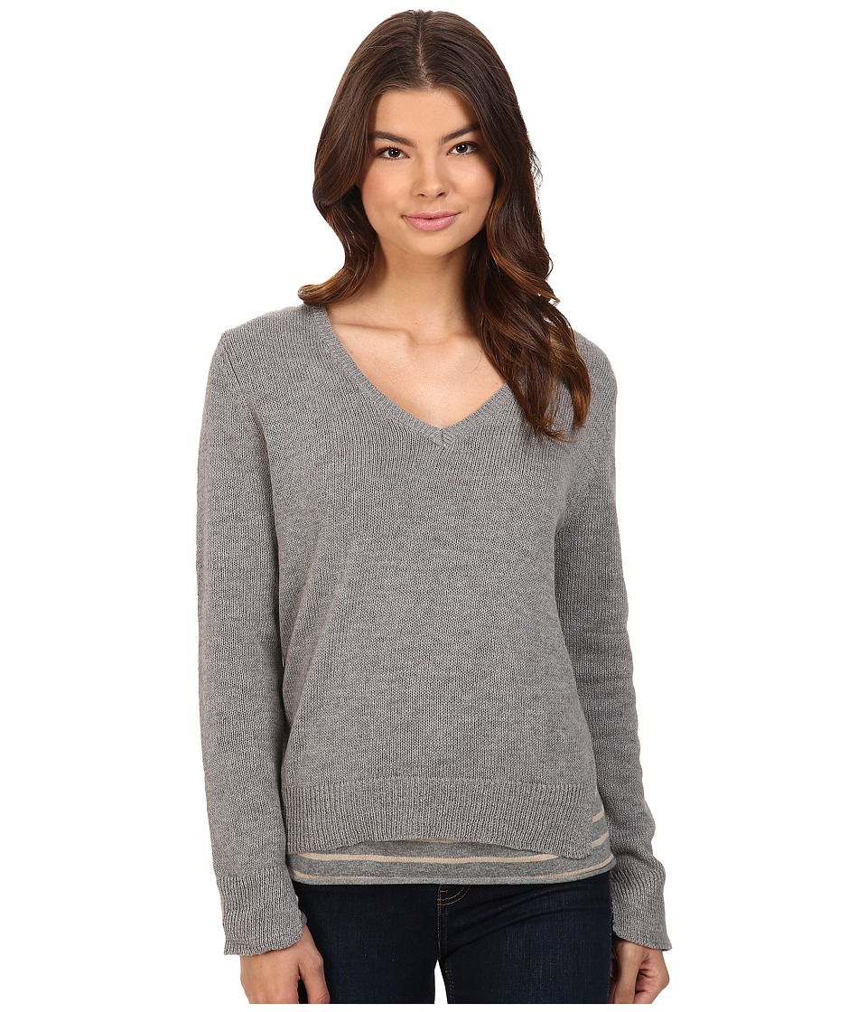Michael Stars - Cotton Slub Long Sleeve Reversible Double Layer Vee Neck (Heather Grey) Women's Clothing