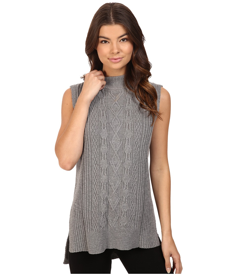 Michael Stars - Cotton Slub Sleeveless Mock Neck Cabled Tunic (Heather Grey) Women's Sleeveless