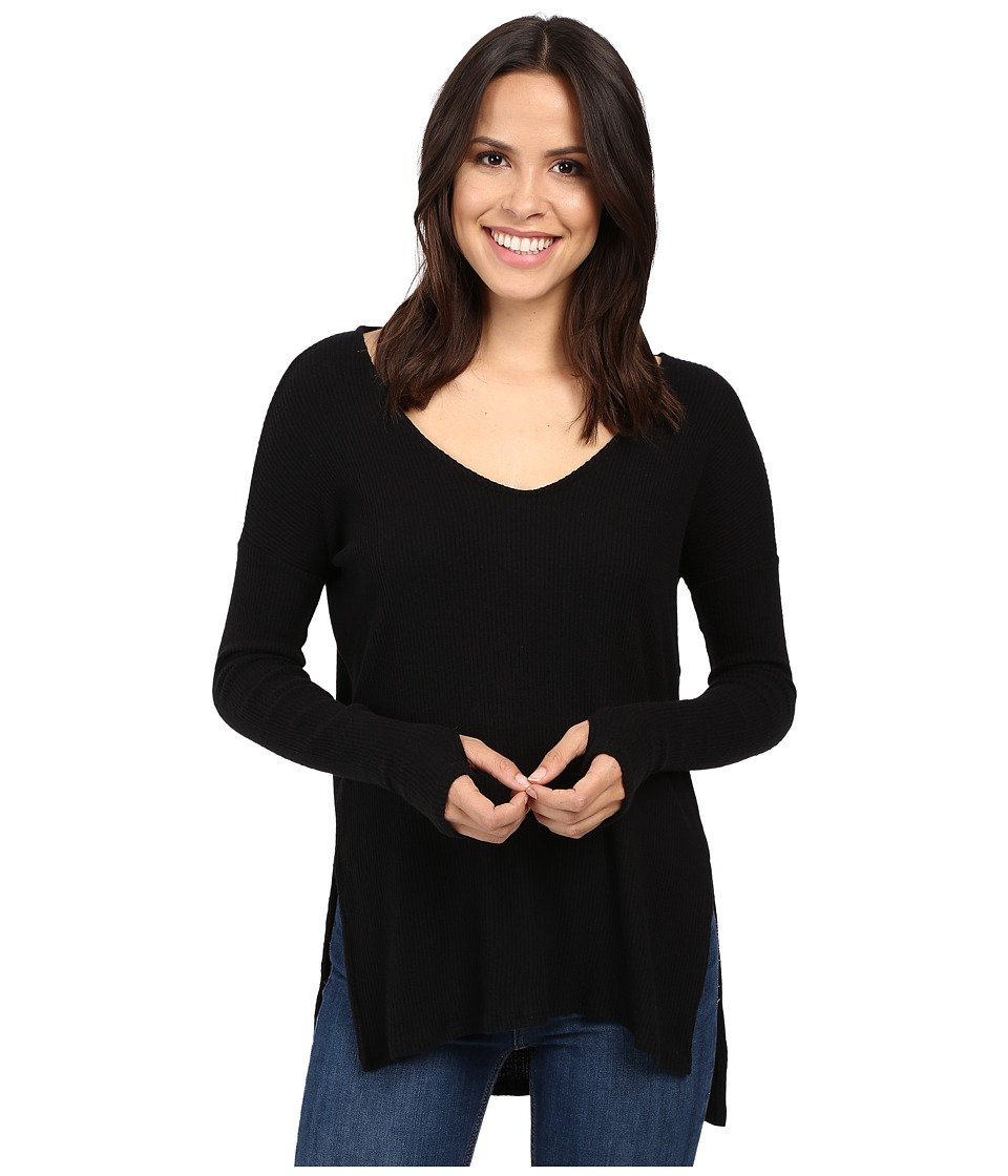 Michael Stars - Super Soft Madison Rib Long Sleeve Vee w/ Thumbholes (Black) Women's Clothing