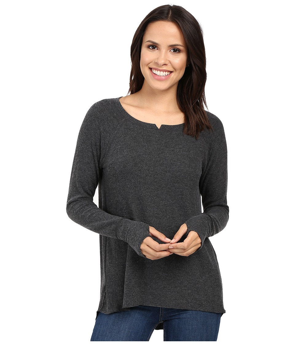 Michael Stars - Madison Brushed Jersey Long Sleeve w/ Thumbholes (Charcoal) Women's Clothing