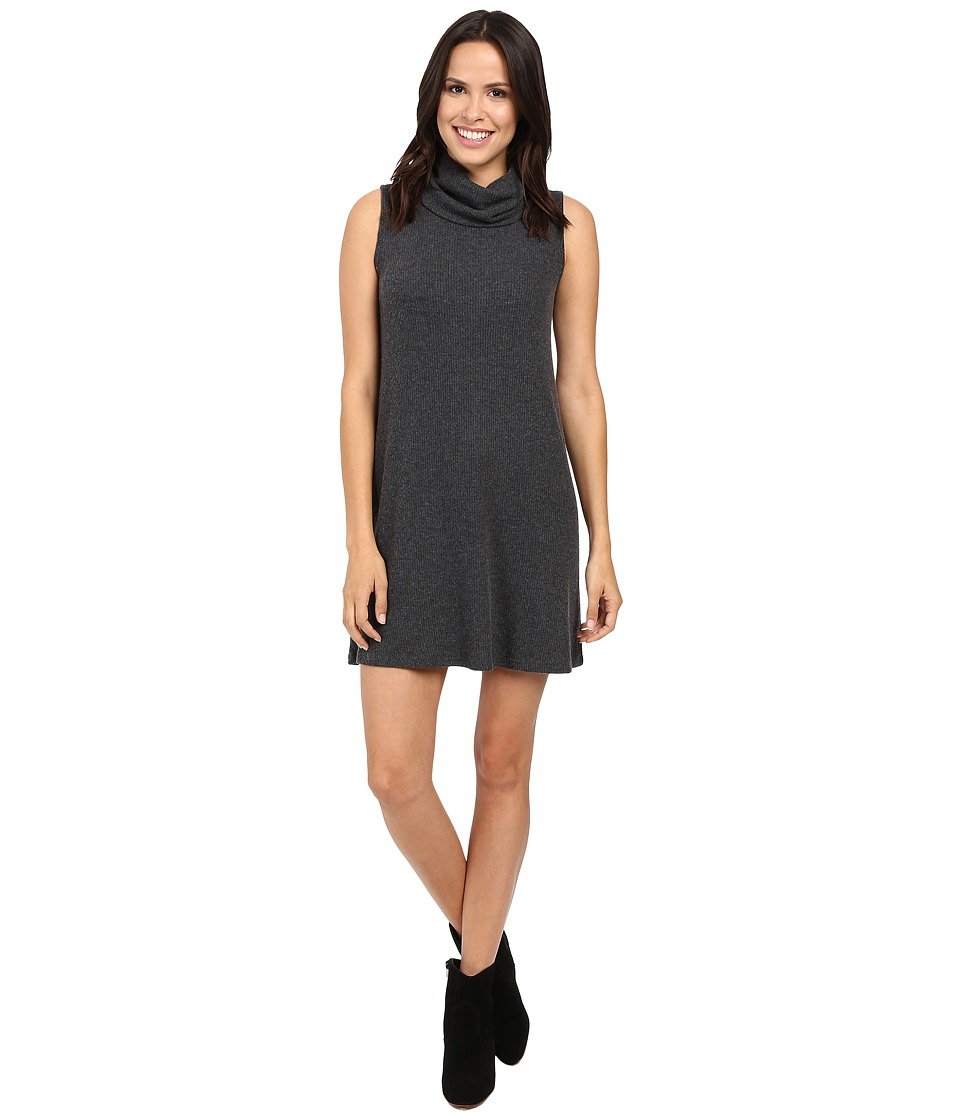 Michael Stars Super Soft Madison Rib Sleeveless Cowl Shift Dress (Charcoal) Women