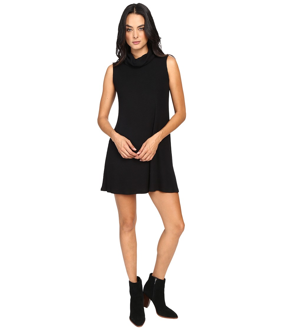 Michael Stars - Super Soft Madison Rib Sleeveless Cowl Shift Dress (Black) Women's Dress