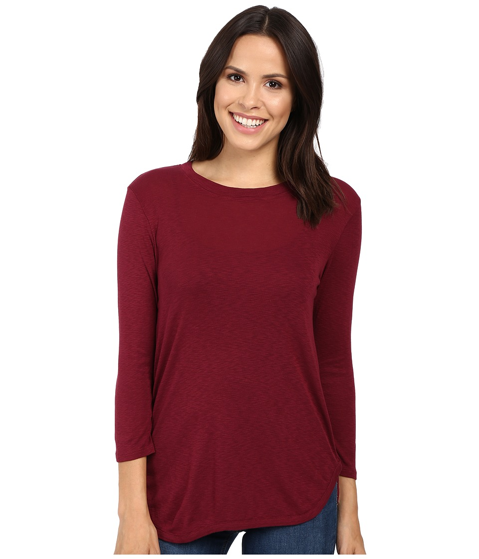 Michael Stars Slub 3/4 Sleeve Crew Neck (Pinot) Women