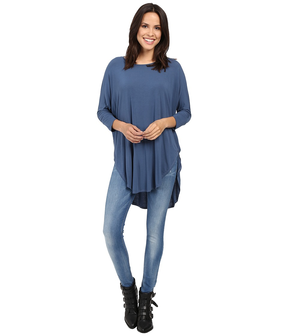 Michael Stars - Jersey Lycra 3/4 Sleeve Poncho Tunic (Blue Steel) Women's Blouse