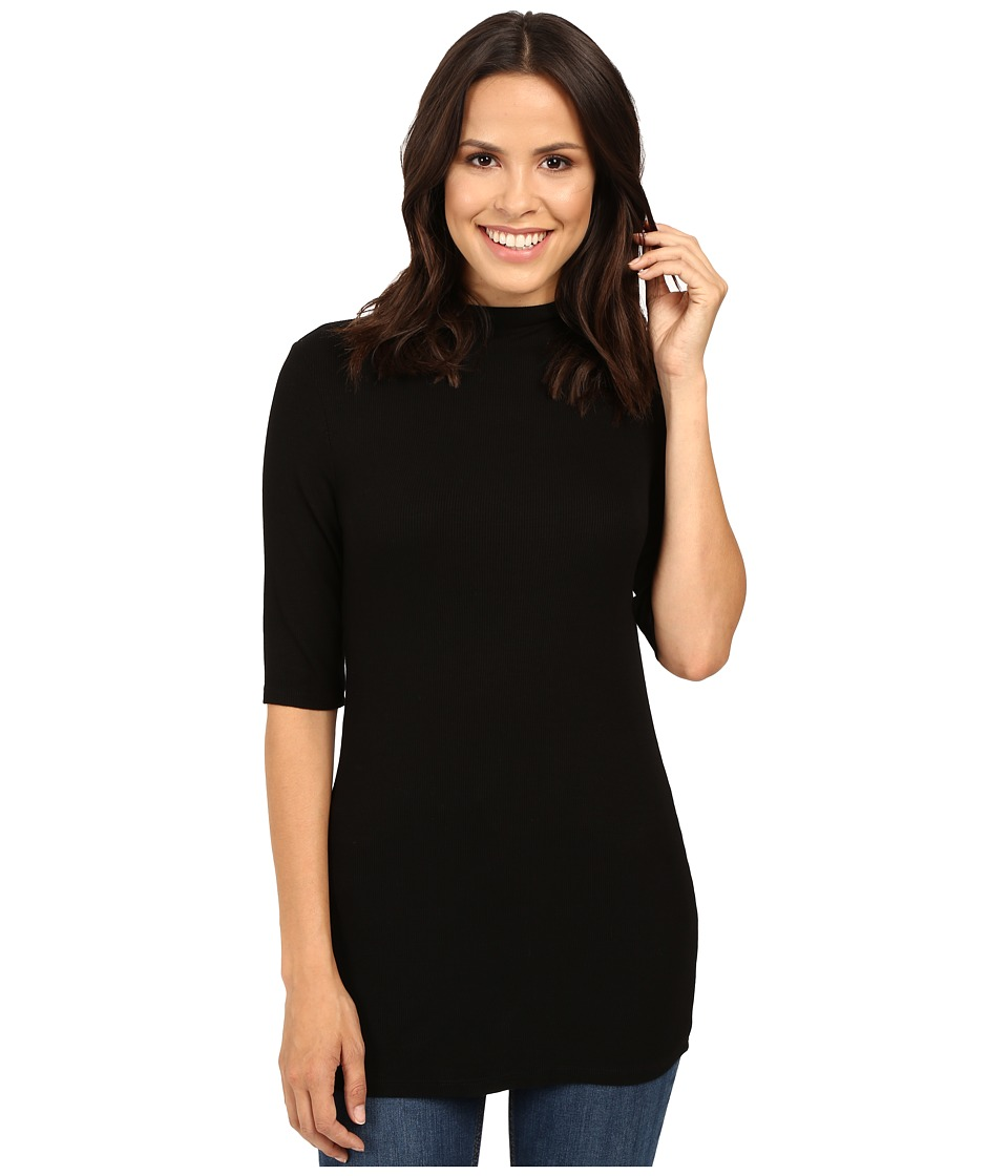 Michael Stars 2x1 Rib Elbow Sleeve Mock Neck Top (Black) Women