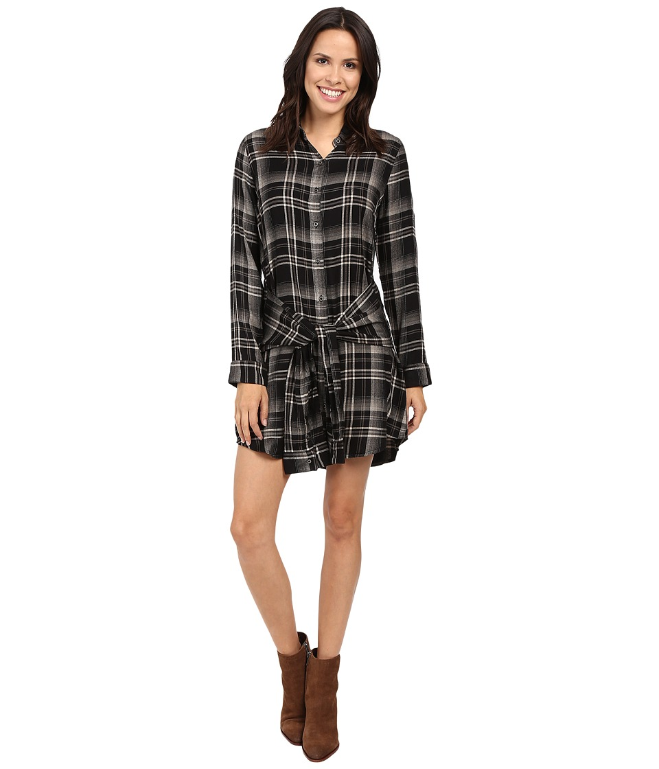 Michael Stars - Plaid Tie Waist Shirtdress (Black) Women's Dress