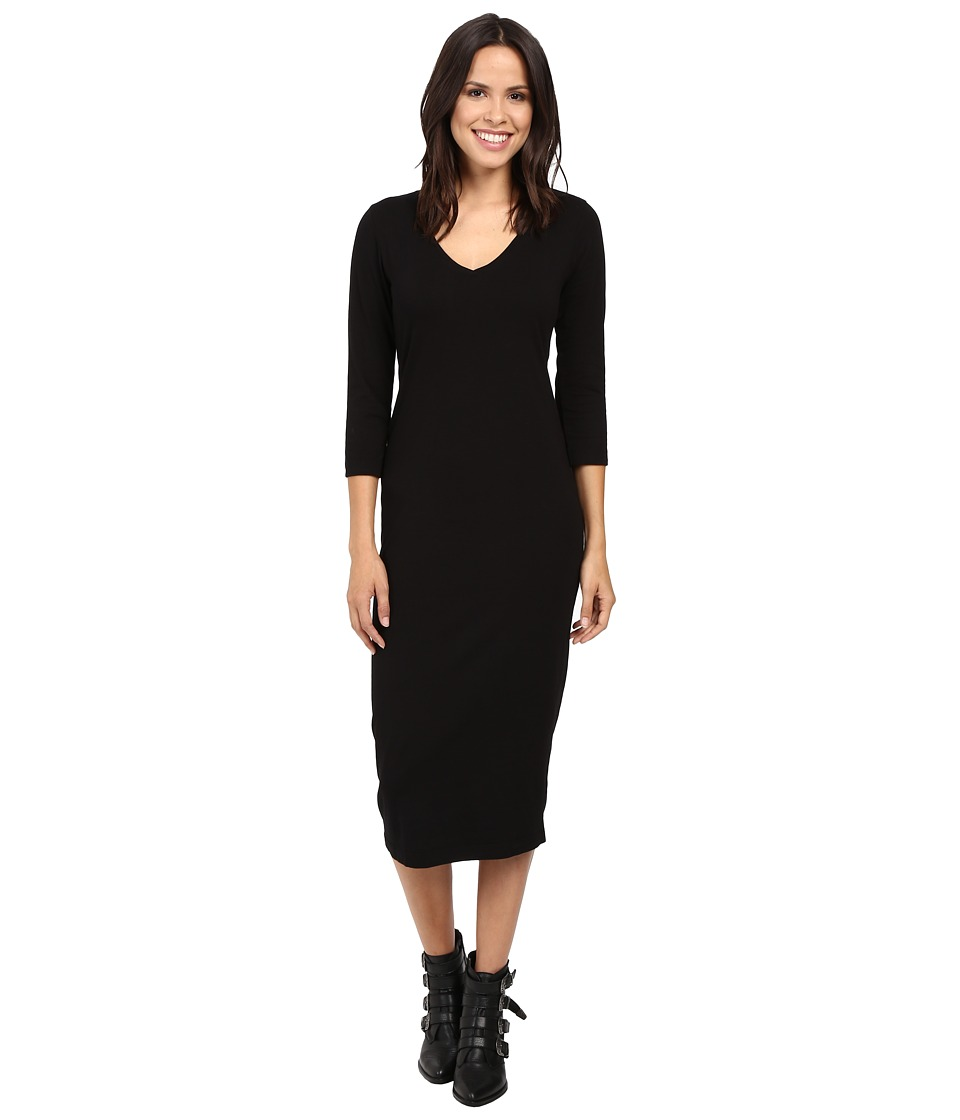 Michael Stars - Cotton Lycra 3/4 Sleeve Vee Neck Midi Dress (Black) Women's Dress
