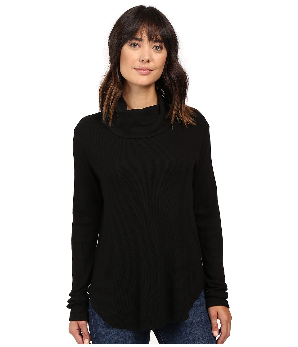 Michael Stars - Thermal Long Sleeve Cowl Neck Top (Black) Women's Clothing