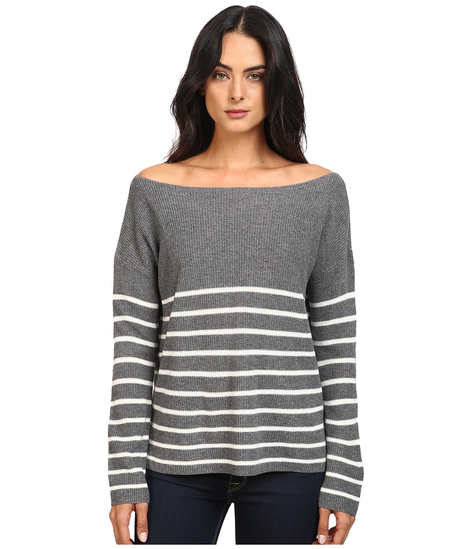 Michael Stars Cashmere Blend Striped Boat Neck Pullover (Derby Grey/Ivory) Women