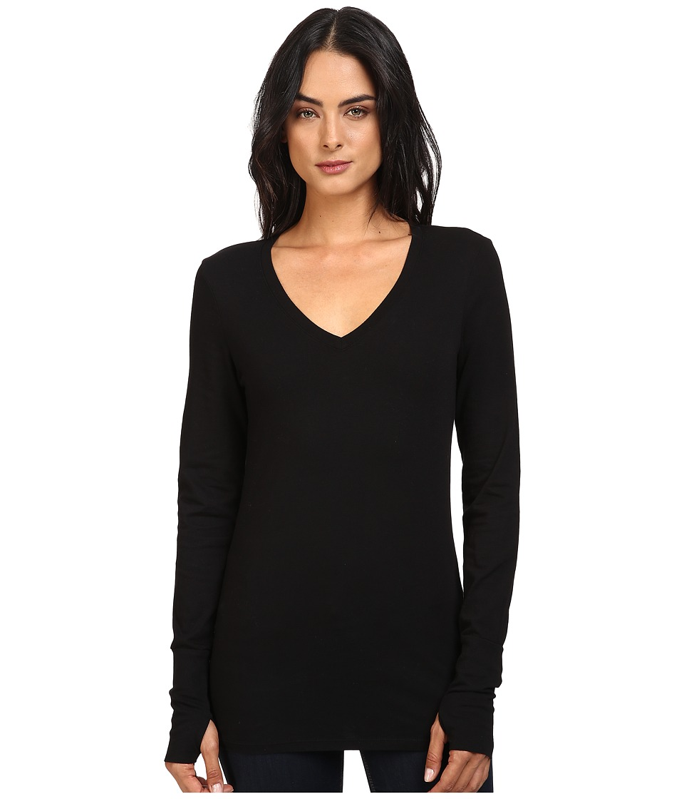 Michael Stars - Cotton Lycra Long Sleeve Vee Neck w/ Thumbholes (Black) Women's Clothing