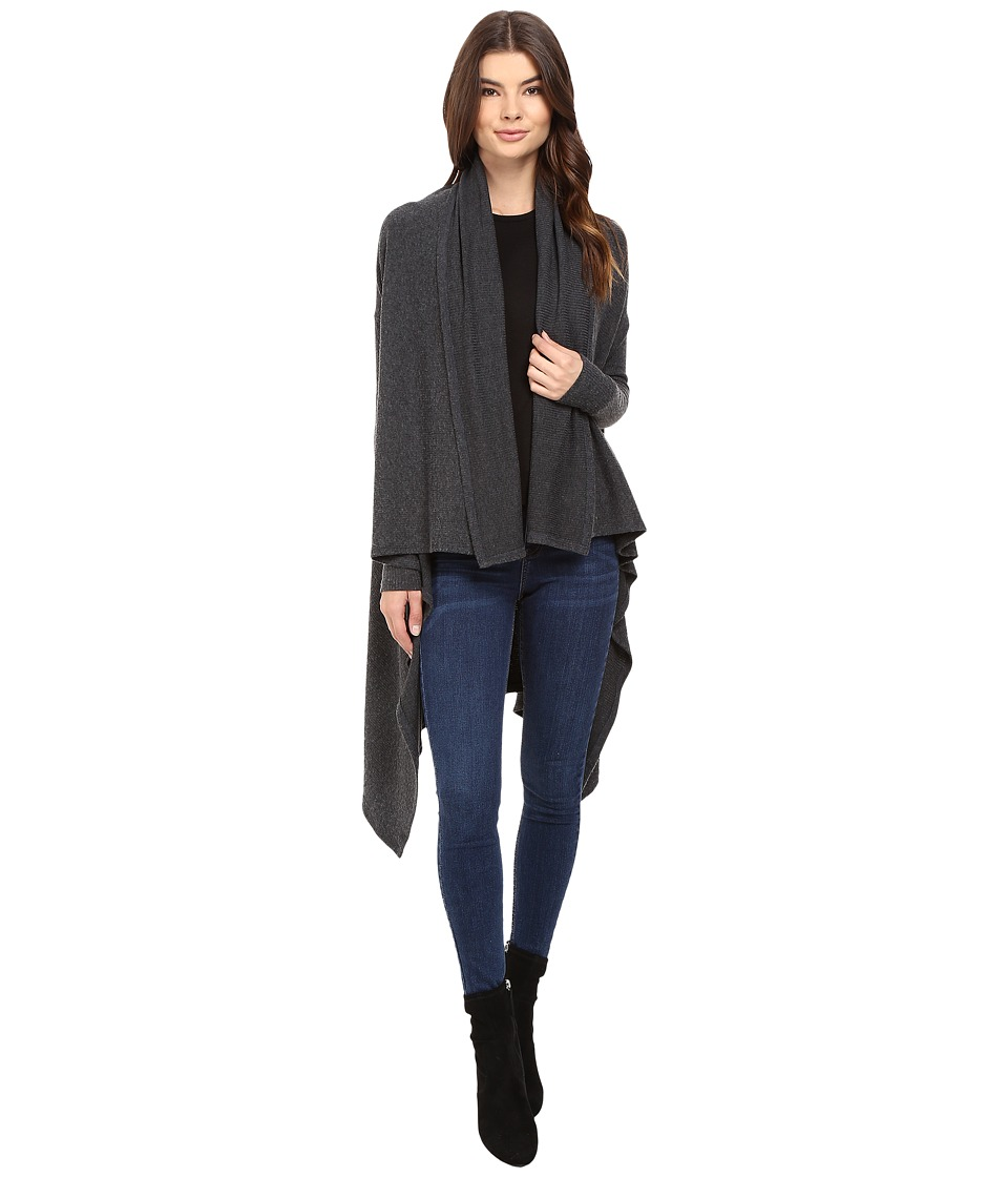 Michael Stars - Super Soft Madison Rib Convertible Cape Cardigan (Charcoal) Women's Sweater