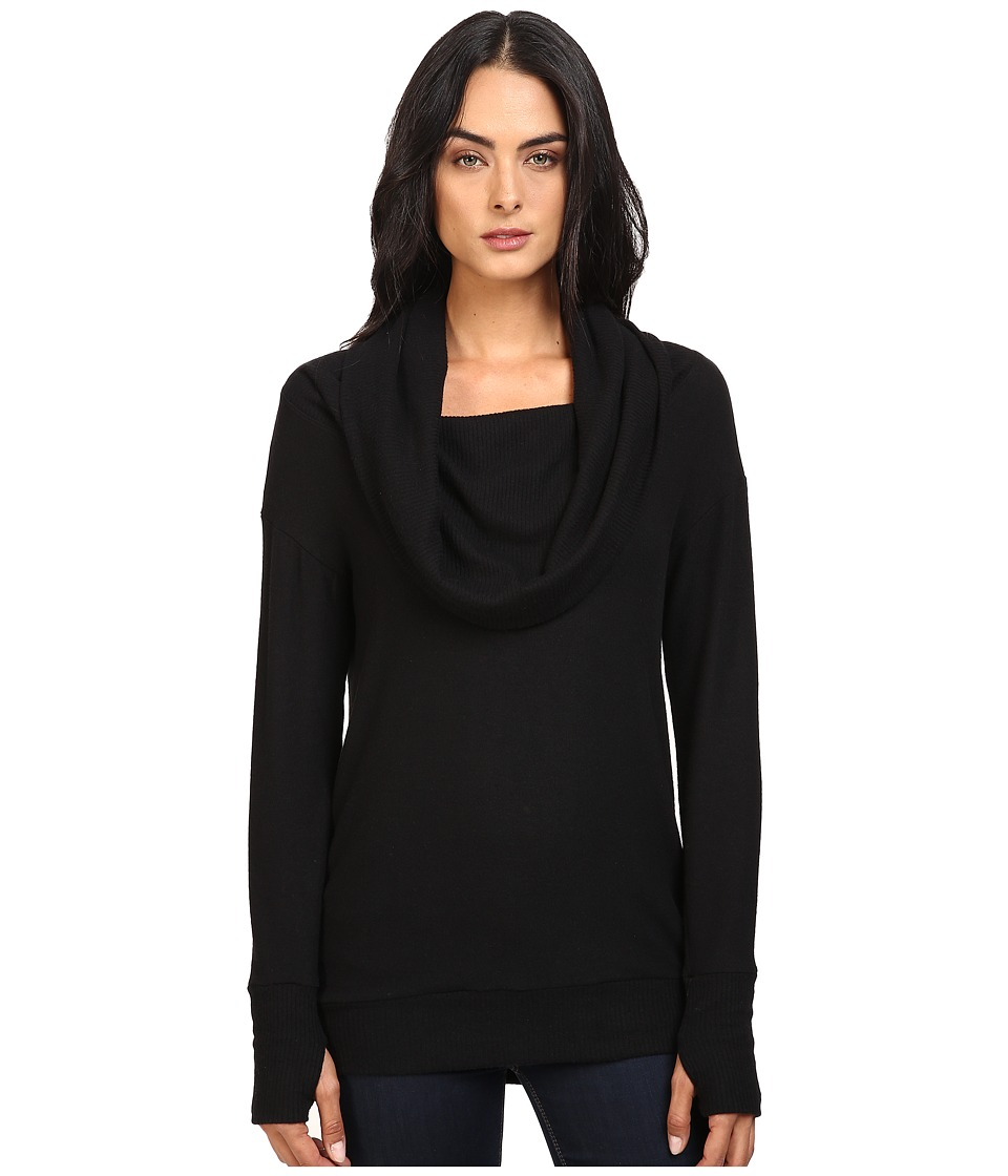 Michael Stars Super Soft Madison Jersey Cowl Neck w/ Thumbholes (Black) Women