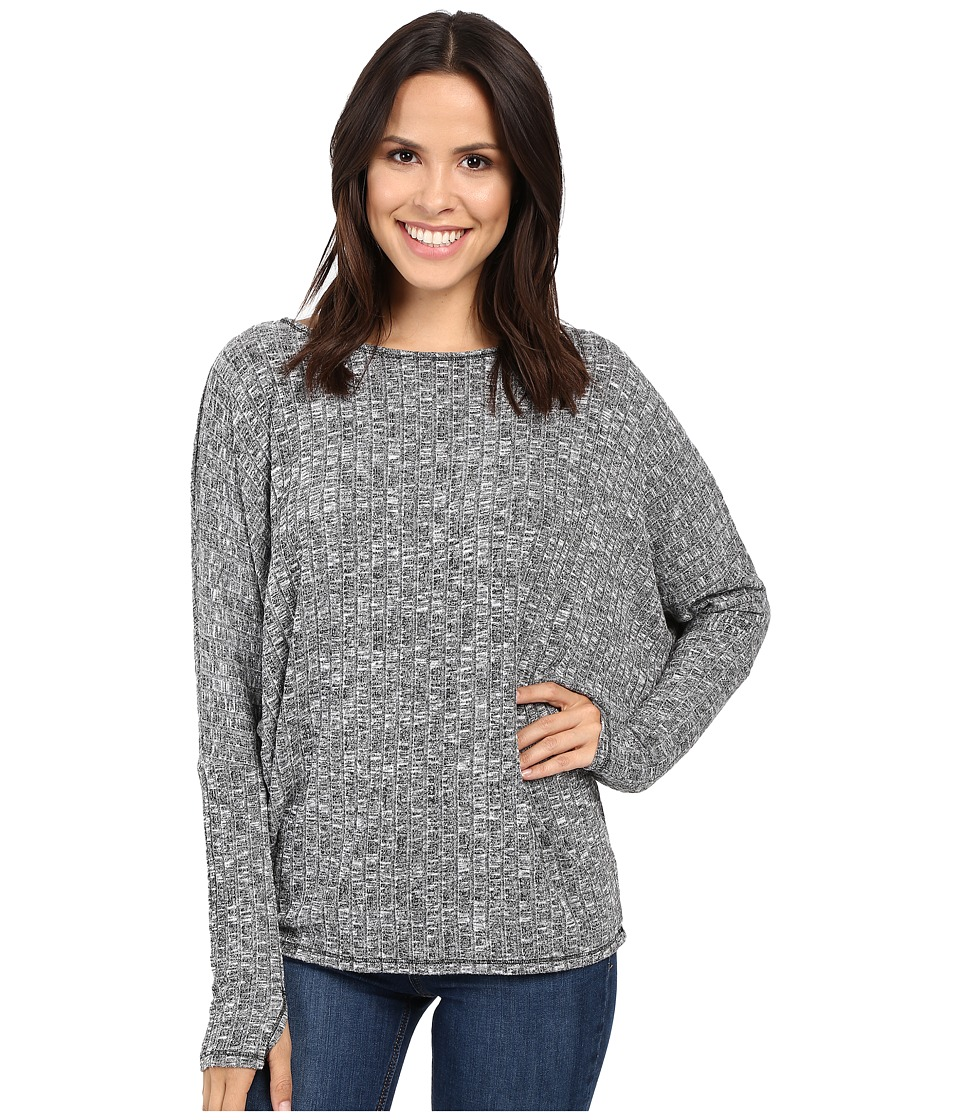 Michael Stars - Jasper Poor Boy Rib Long Sleeve Boat Neck w/ Thumbholes (Heather Grey) Women's Clothing