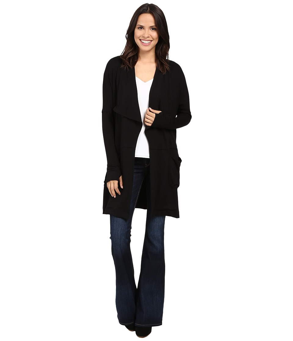 Michael Stars - Elevated French Terry Draped Coat with Pockets (Black) Women's Coat