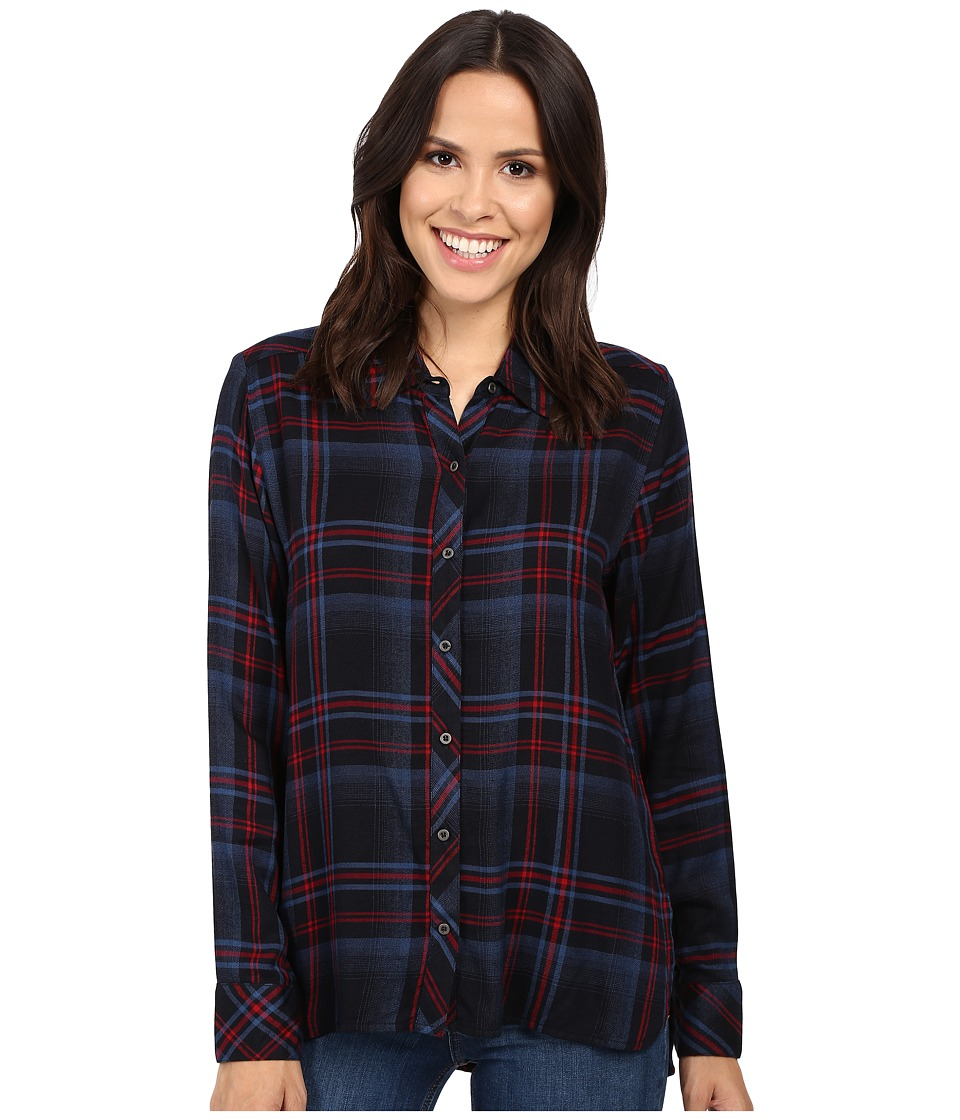 Michael Stars - Plaid Hi-Low Boyfriend Shirt (Nocturnal) Women's Clothing