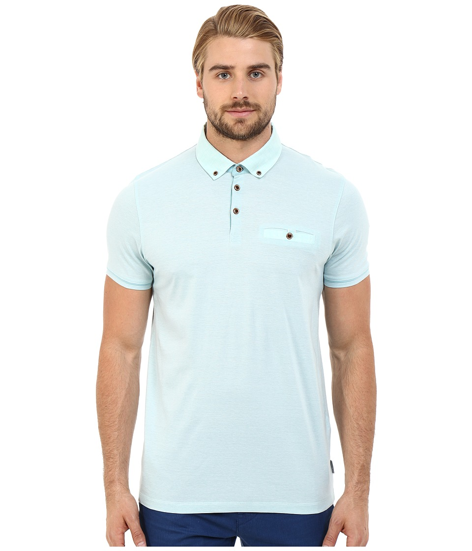 Ted Baker - Trynor Linen Collar Stripe Polo (Mint) Men's Short Sleeve Pullover