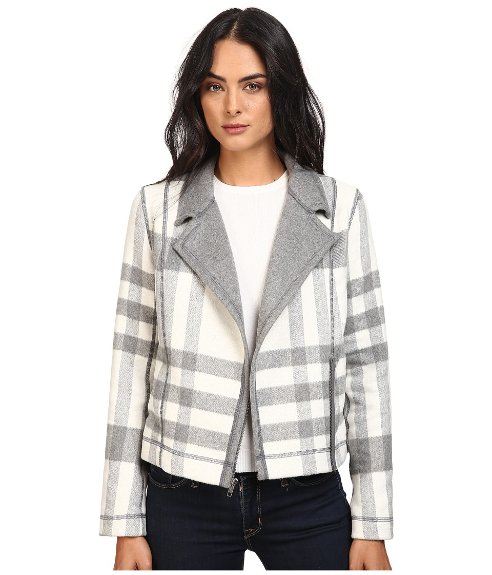 Michael Stars - Double-Faced Flannel Plaid Moto Jacket (Chalk/Galvanized) Women's Coat