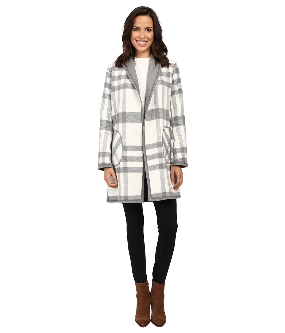 Michael Stars - Double-Faced Flanel Plaid Reversible Coat (Chalk/Galvanized) Women's Coat