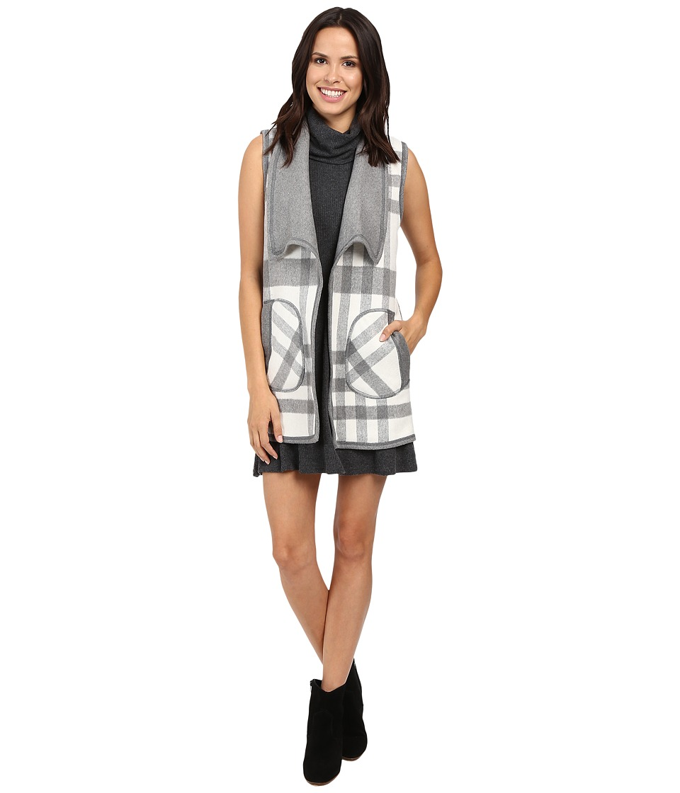 Michael Stars Double-Faced Flannel Plaid Reversible Vest (Chalk/Galvanized) Women