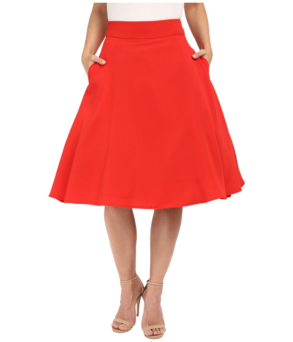 Unique Vintage - Vivien Swing Skirt (Red) Women's Skirt