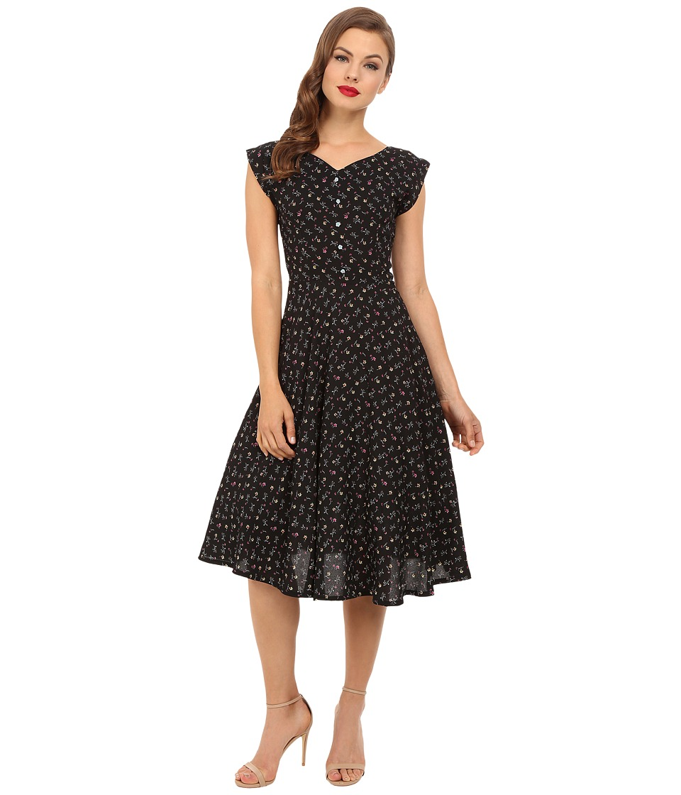 Unique Vintage - 1940's Havenhurst Swing Dress (Black Floral) Women's Dress