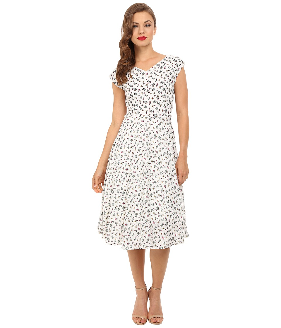 Unique Vintage - 1940's Havenhurst Swing Dress (White Floral) Women's Dress