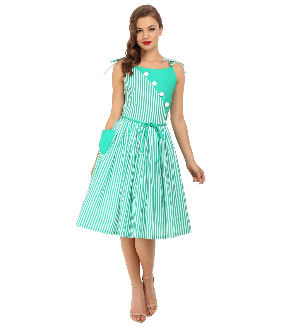 Unique Vintage - Hamilton Day Dress (Green Striped) Women's Dress