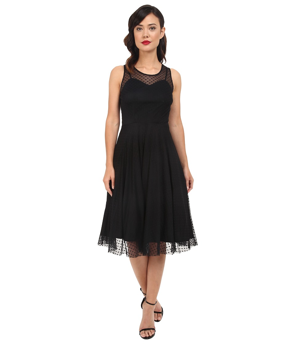 Unique Vintage - Mesh High Society Swing Dress (Black Heart Print) Women's Dress