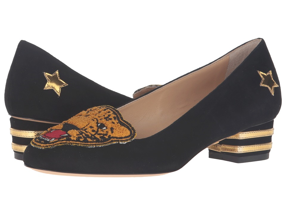 Charlotte Olympia - Mascot (Black/Gold) Women's Slip-on Dress Shoes