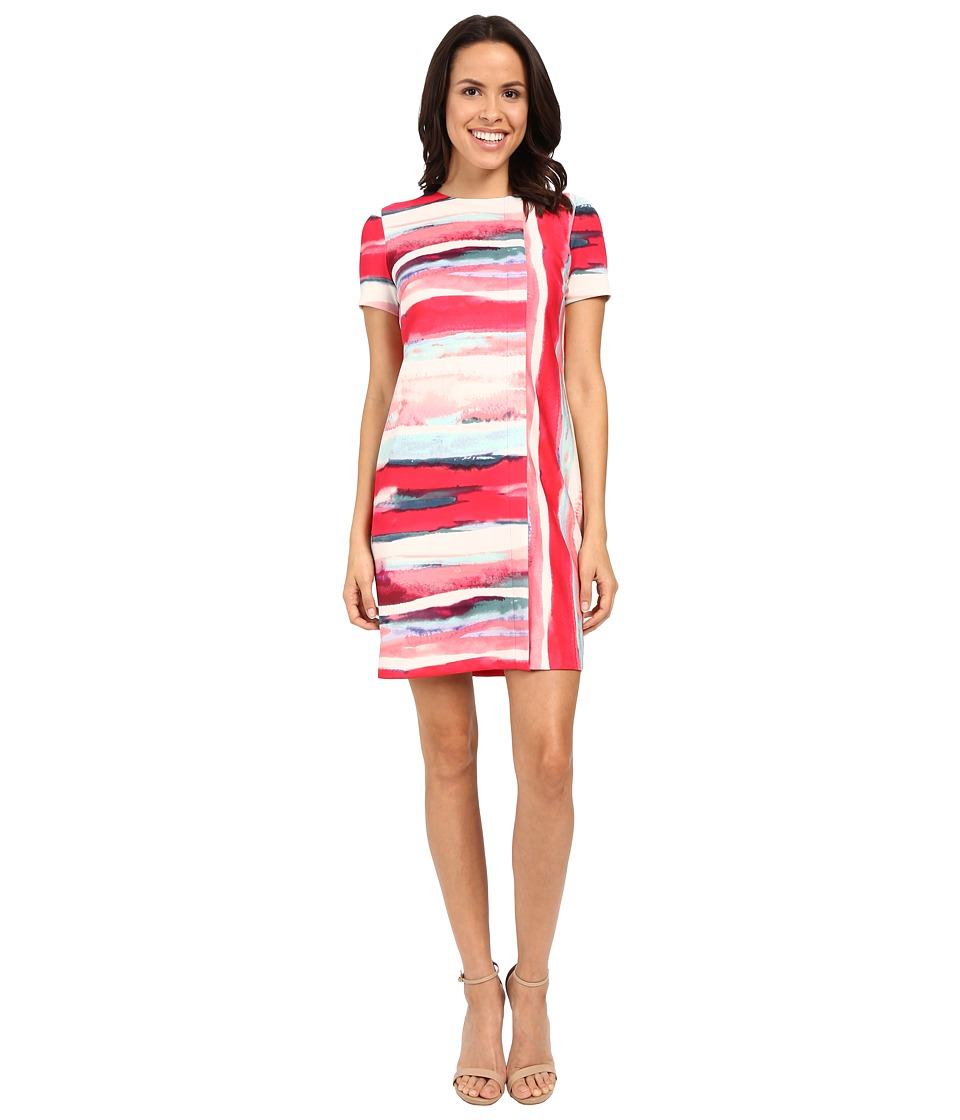 Vince Camuto - Short Sleeve Printed Scuba Shift Dress (Pink Multi) Women's Dress