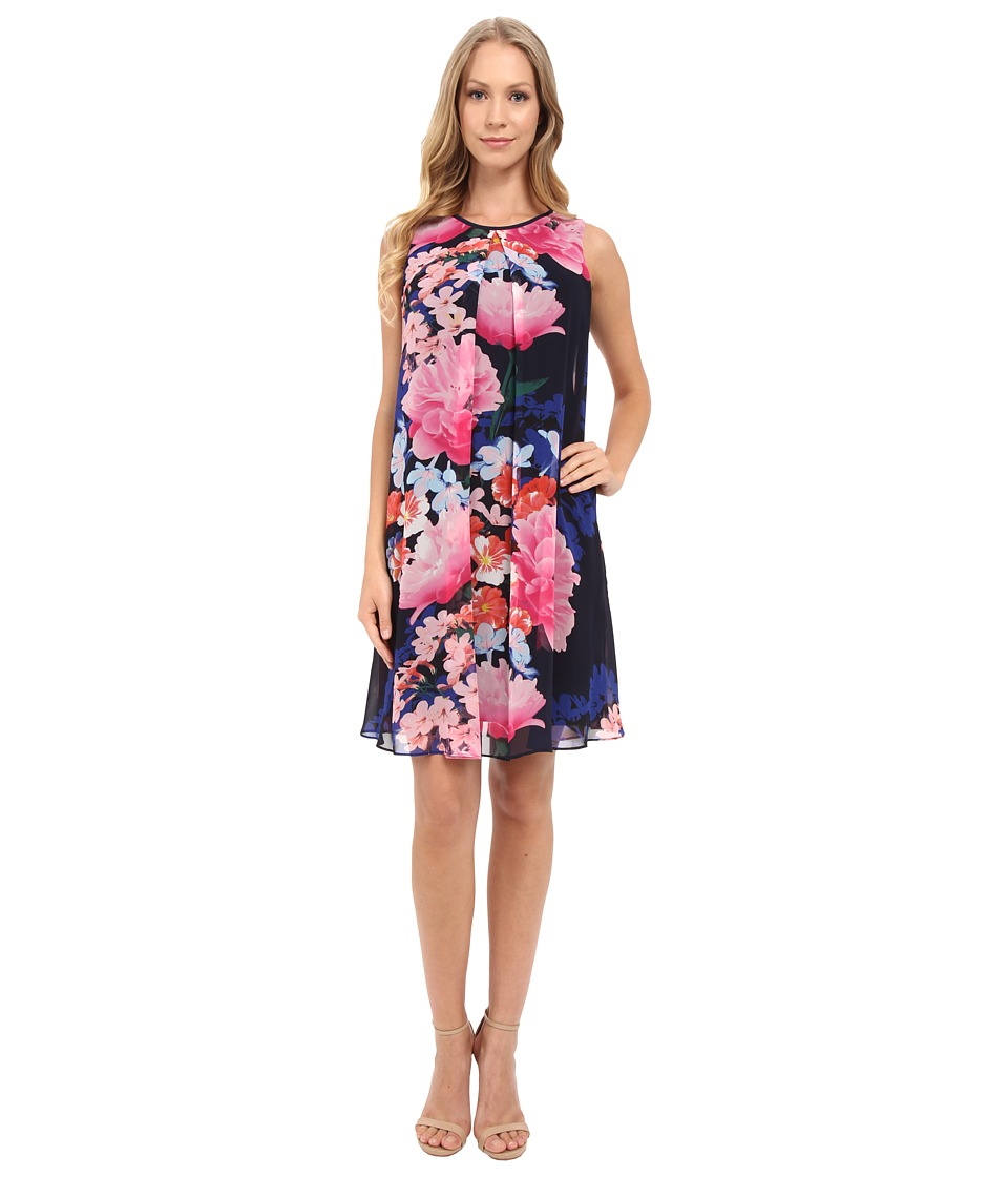 Vince Camuto - Printed Chiffon Overlay Underdress with Binding Pleat (Navy Multi) Women's Dress