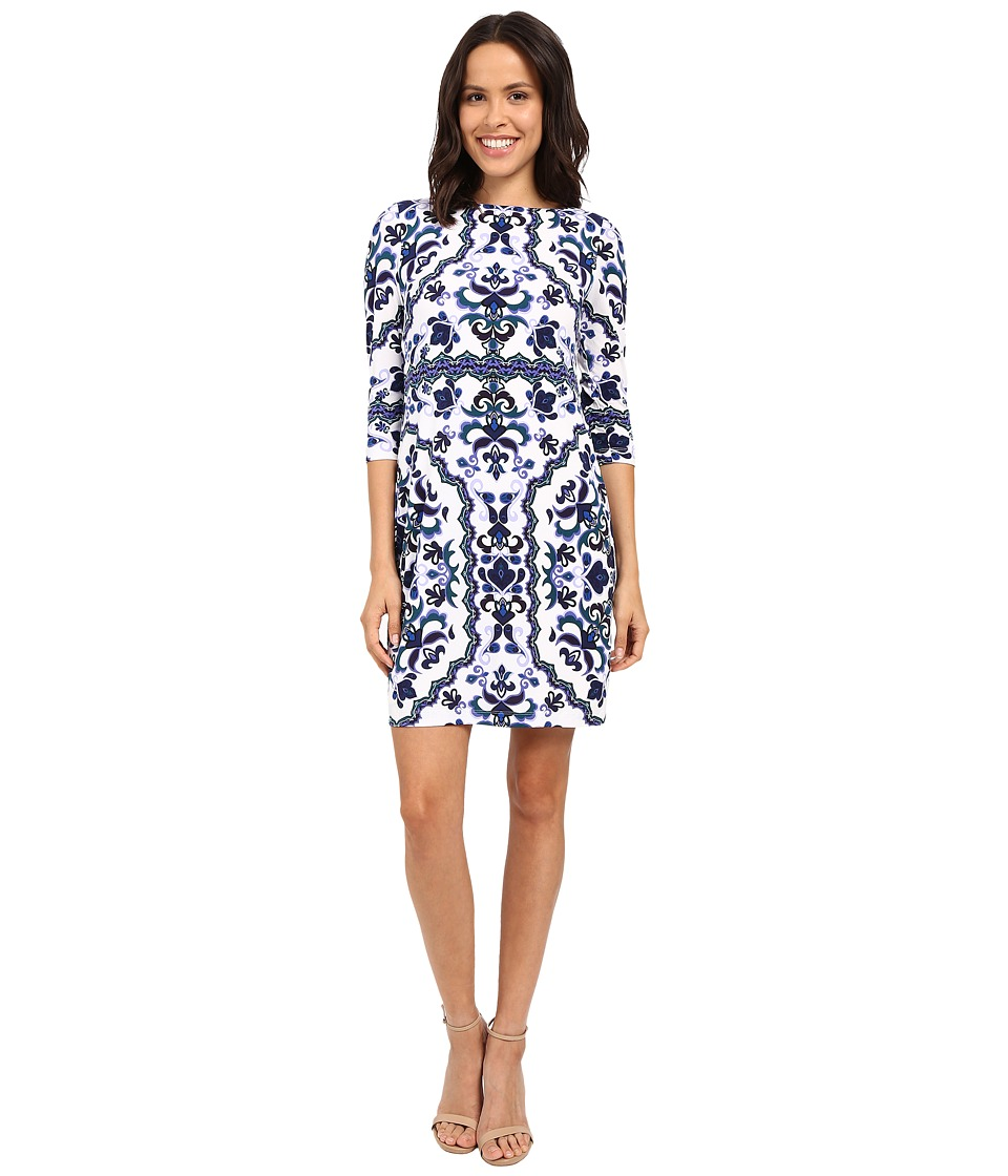 Vince Camuto - Printed Crepe Long Sleeve Tee Body (Blue) Women's Dress