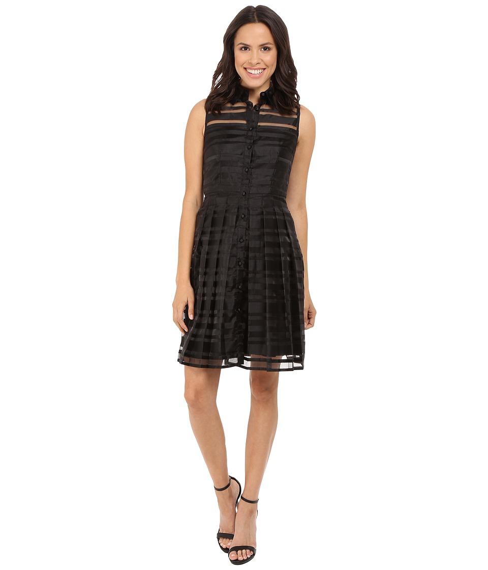 Tahari by ASL Burnout Stripe Fit Flare Shirtdress (Black) Women