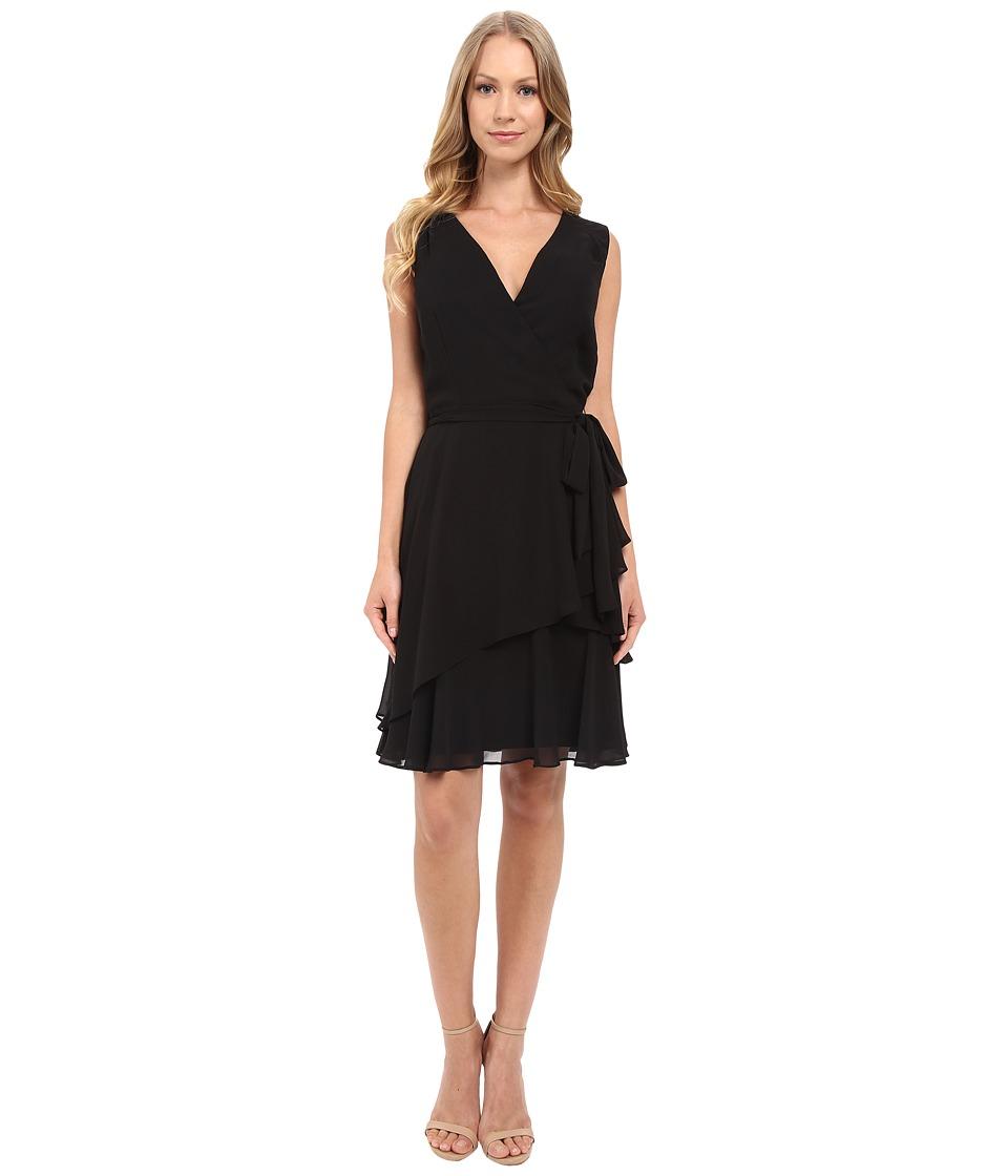 Tahari by ASL - V-Neck Chiffon w/ Ruffled Skirt (Black) Women's Dress