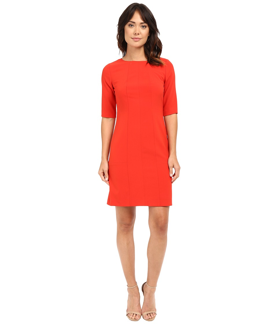 Tahari by ASL - Seamed Sheath w/ Elbow Length Sleeves (Red Pepper) Women's Dress